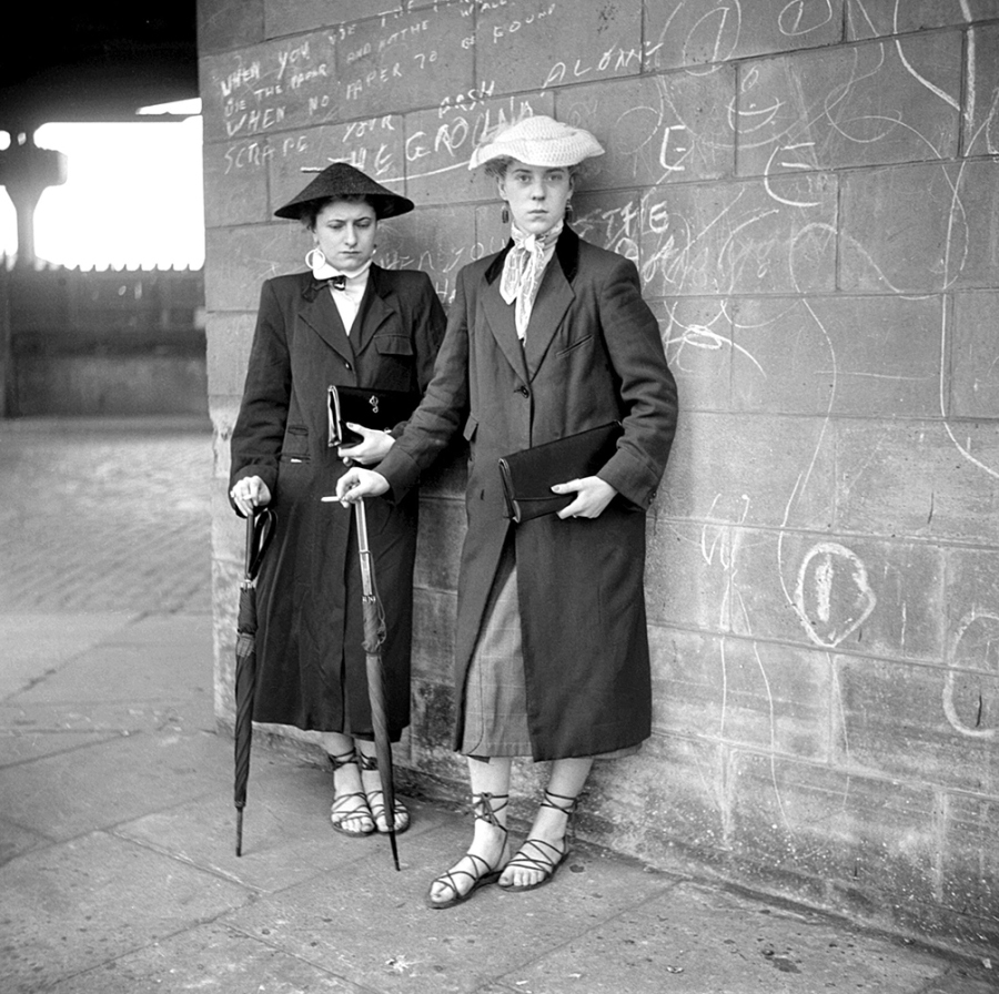 "London, England: 1955. Teddy girls photographed by Ken Russell. ©TopFoto/Ken Russell / The Image Works NOTE: The copyright notice must include ""The Image Works"" DO NOT SHORTEN THE NAME OF THE COMPANY"